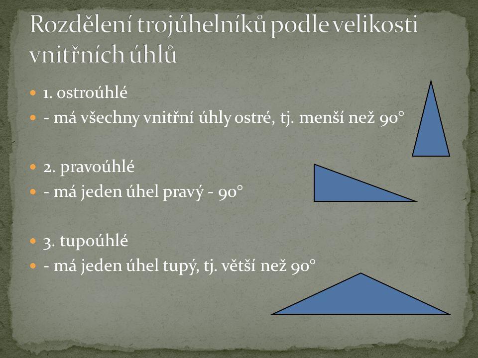 Rozdělení trojúhelníků podle velikosti vnitřních úhlů