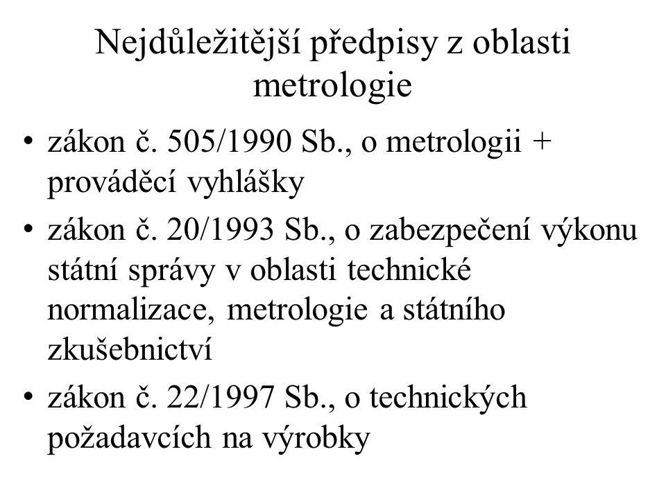Nejdůležitější předpisy z oblasti metrologie