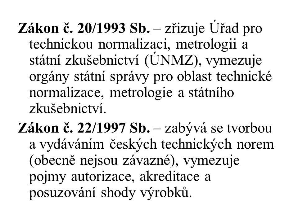 Zákon č. 20/1993 Sb. – zřizuje Úřad pro technickou normalizaci, metrologii a státní zkušebnictví (ÚNMZ), vymezuje orgány státní správy pro oblast technické normalizace, metrologie a státního zkušebnictví.
