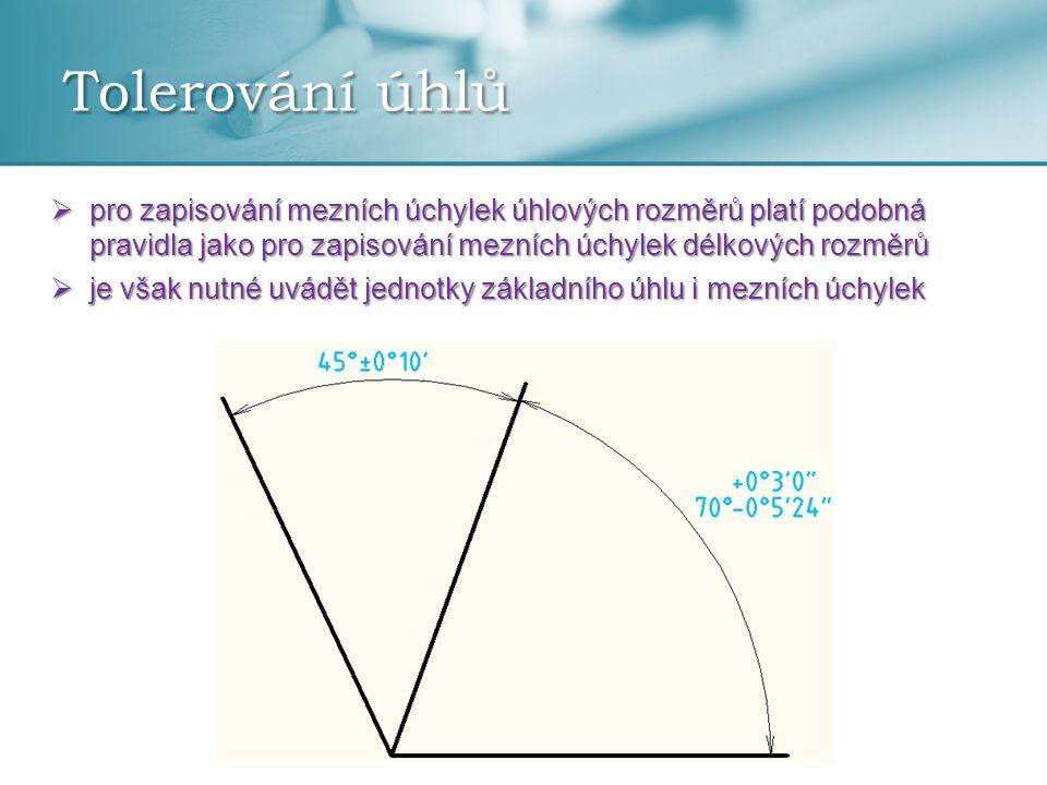 Tolerování úhlů pro zapisování mezních úchylek úhlových rozměrů platí podobná pravidla jako pro zapisování mezních úchylek délkových rozměrů.