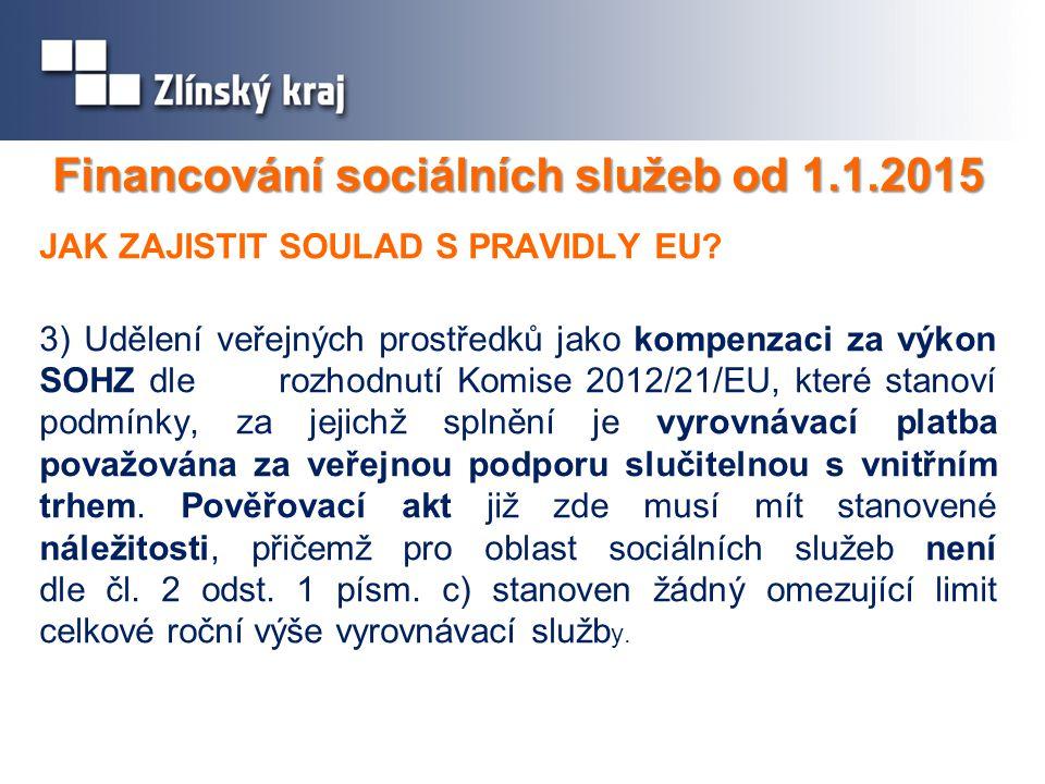 Financování sociálních služeb od 1.1.2015