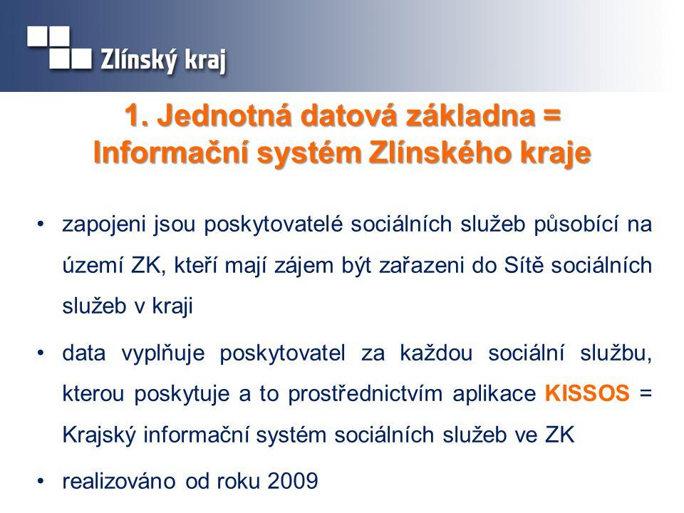 1. Jednotná datová základna = Informační systém Zlínského kraje