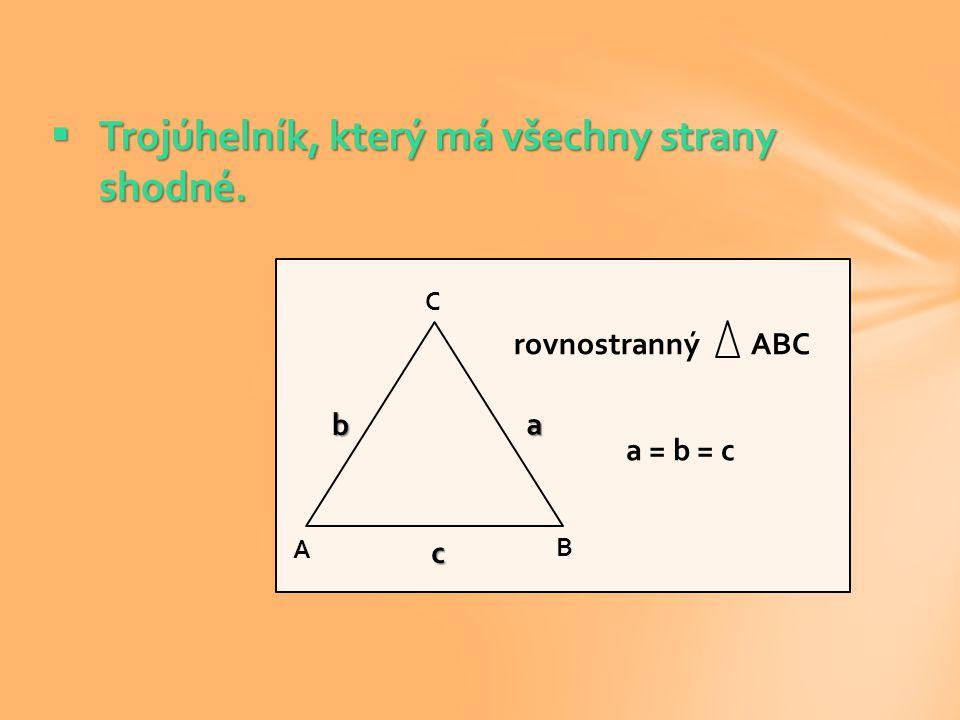 Trojúhelník, který má všechny strany shodné.