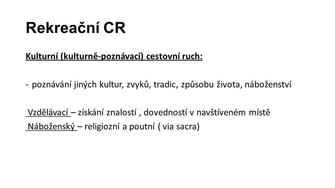 Rekreační CR Kulturní (kulturně-poznávací) cestovní ruch: