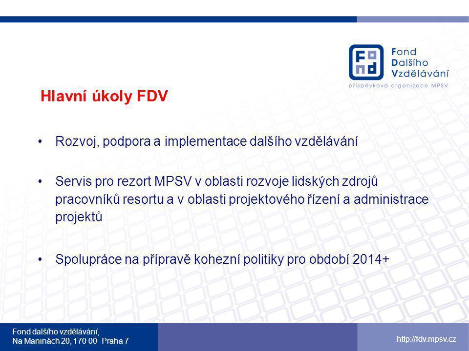 Hlavní úkoly FDV Rozvoj, podpora a implementace dalšího vzdělávání