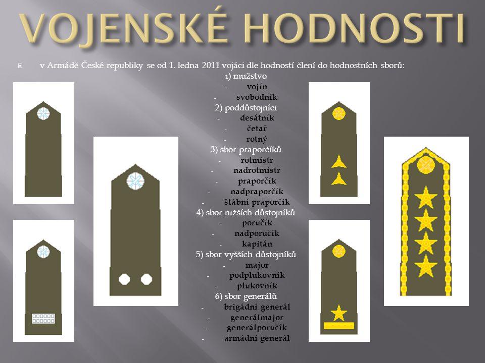 VOJENSKÉ HODNOSTI v Armádě České republiky se od 1. ledna 2011 vojáci dle hodností člení do hodnostních sborů: