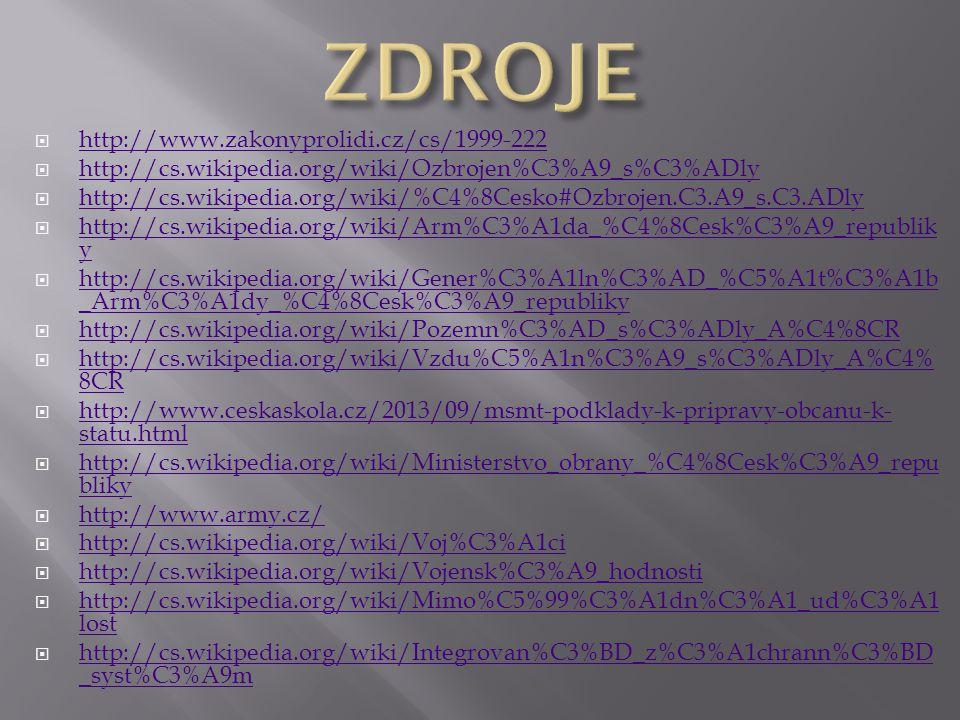 ZDROJE http://www.zakonyprolidi.cz/cs/1999-222