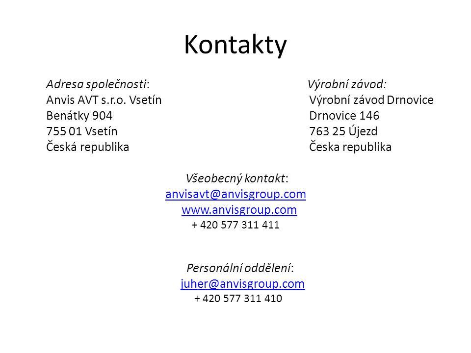 Kontakty Adresa společnosti: Výrobní závod: