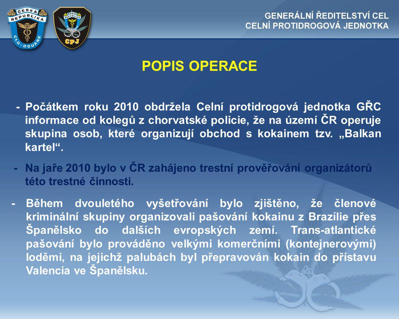 POPIS OPERACE