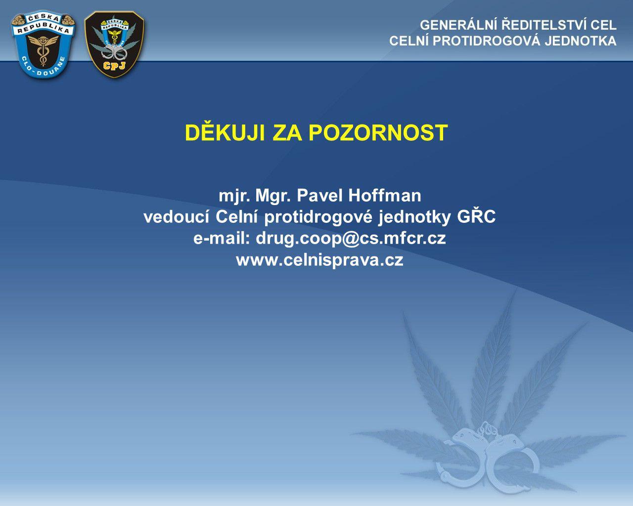 vedoucí Celní protidrogové jednotky GŘC e-mail: drug.coop@cs.mfcr.cz
