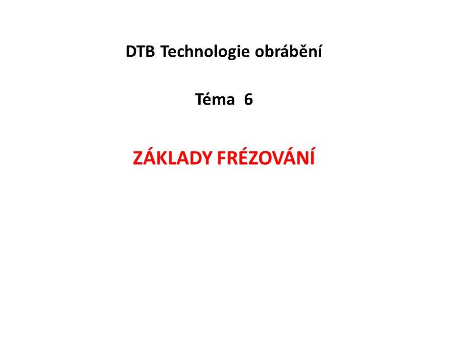 DTB Technologie obrábění Téma 6 Základy frézování