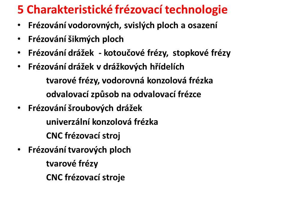 5 Charakteristické frézovací technologie