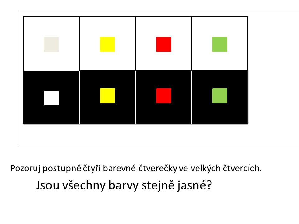 Pozoruj postupně čtyři barevné čtverečky ve velkých čtvercích.