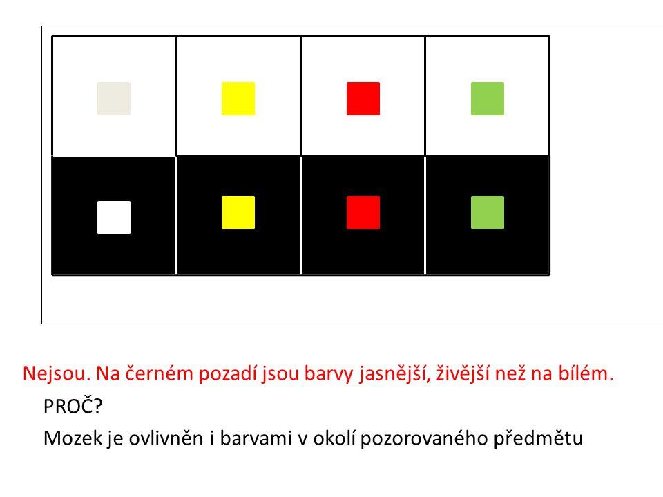 Nejsou. Na černém pozadí jsou barvy jasnější, živější než na bílém.