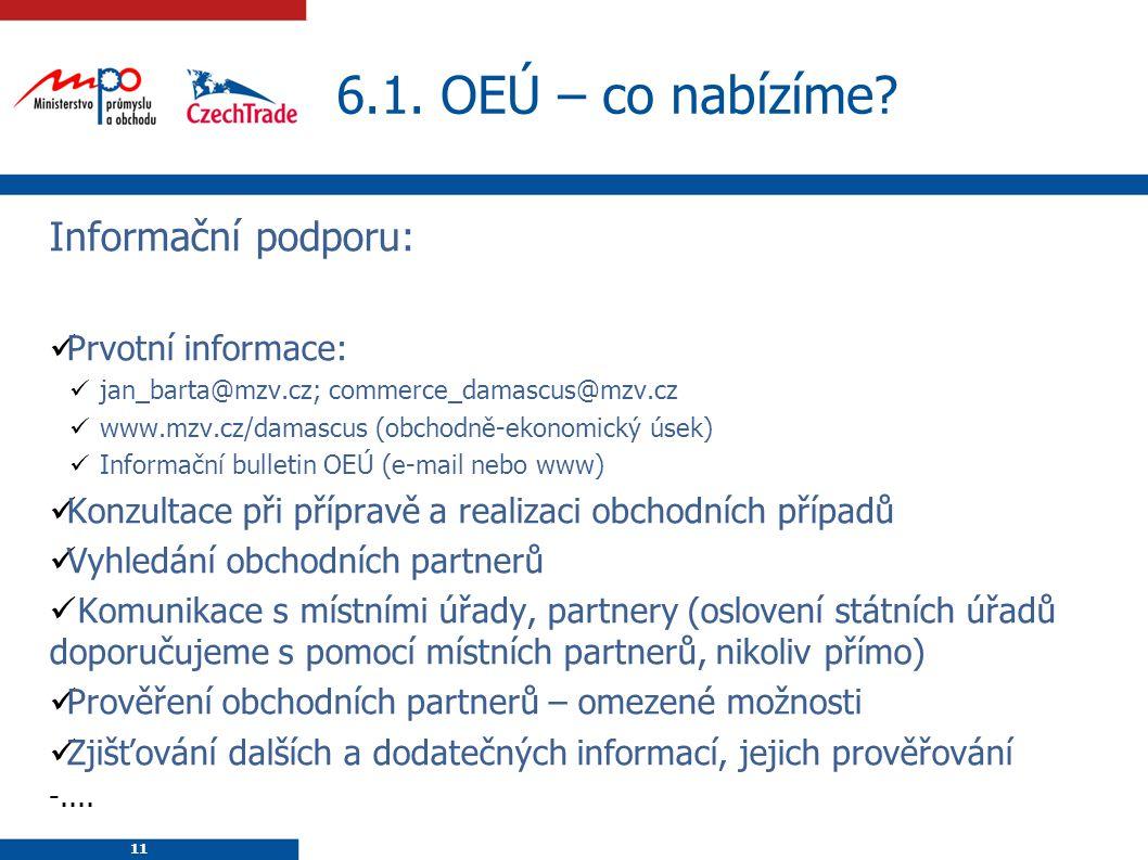 6.1. OEÚ – co nabízíme Informační podporu: Prvotní informace: