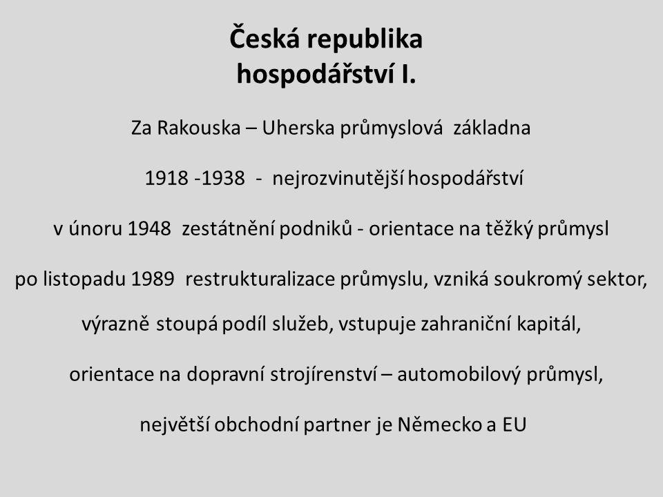 Česká republika hospodářství I.