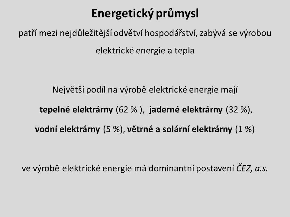 Energetický průmysl patří mezi nejdůležitější odvětví hospodářství, zabývá se výrobou elektrické energie a tepla.