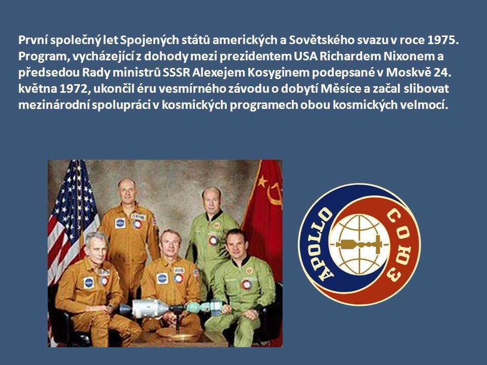 První společný let Spojených států amerických a Sovětského svazu v roce 1975.