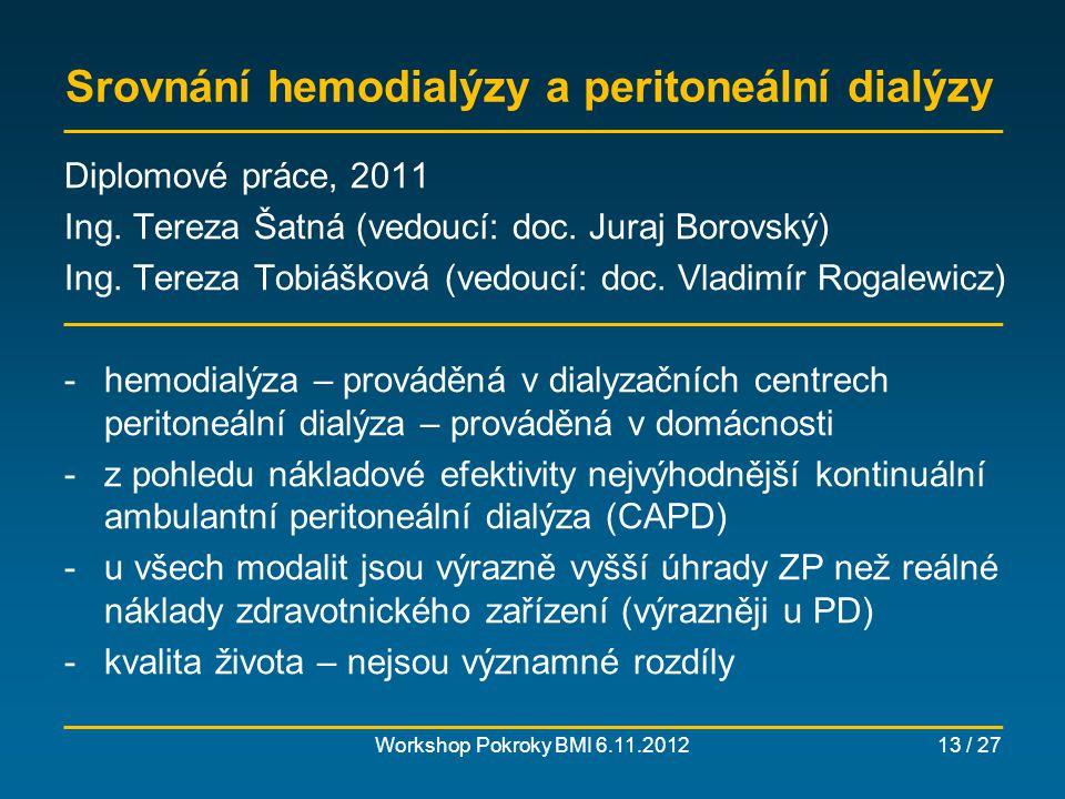 Srovnání hemodialýzy a peritoneální dialýzy