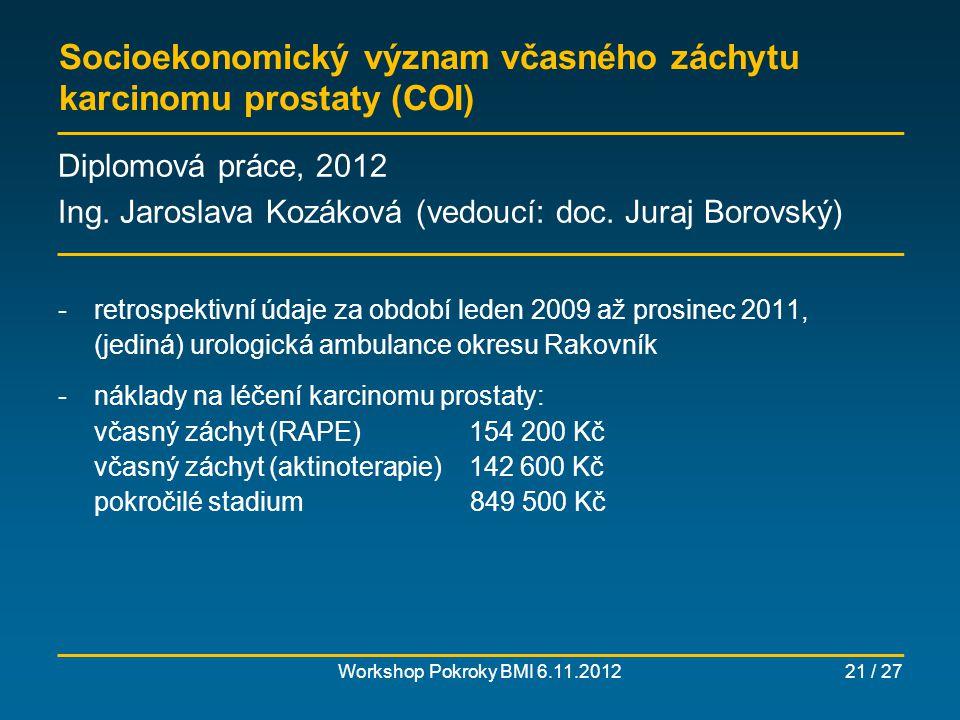 Socioekonomický význam včasného záchytu karcinomu prostaty (COI)