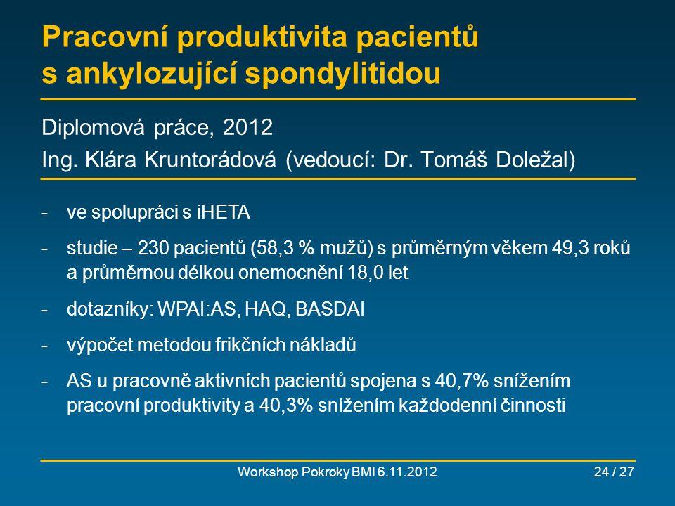 Pracovní produktivita pacientů s ankylozující spondylitidou