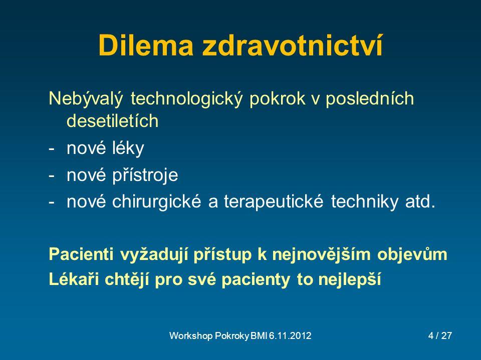 Dilema zdravotnictví Nebývalý technologický pokrok v posledních desetiletích. nové léky. nové přístroje.