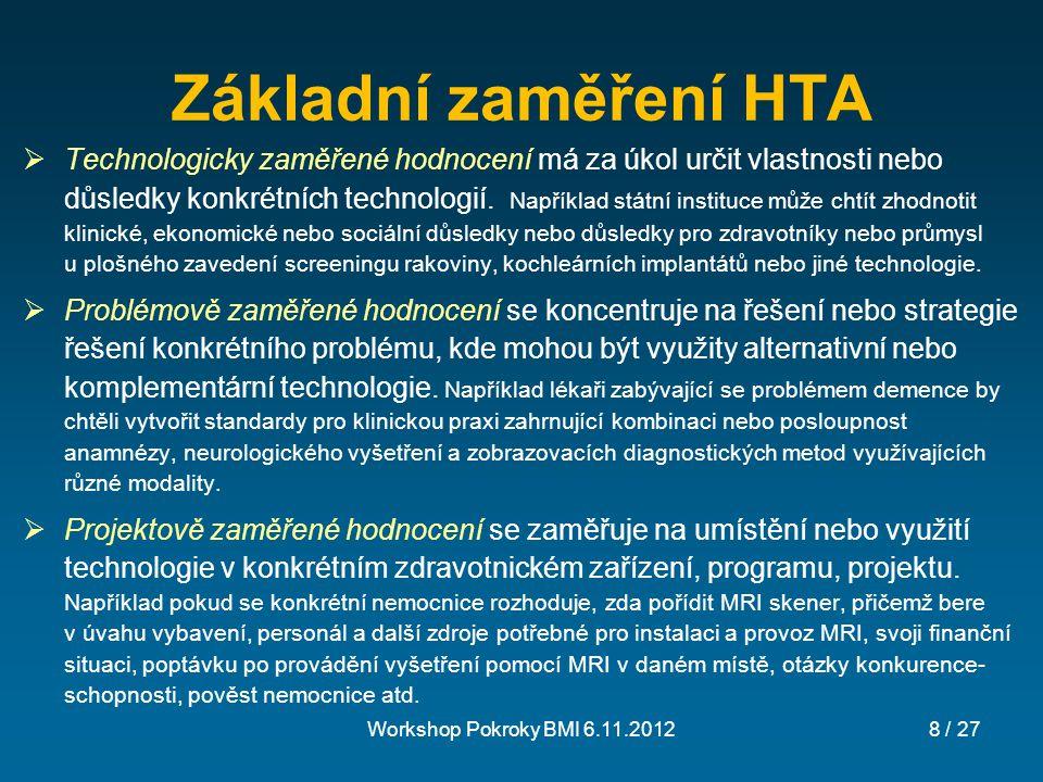 Základní zaměření HTA