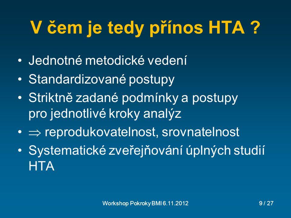 V čem je tedy přínos HTA Jednotné metodické vedení