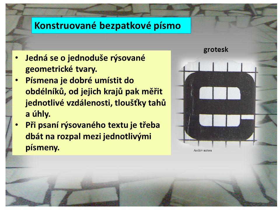 Konstruované bezpatkové písmo