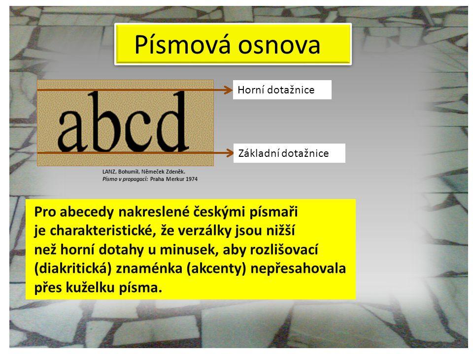 Písmová osnova Pro abecedy nakreslené českými písmaři