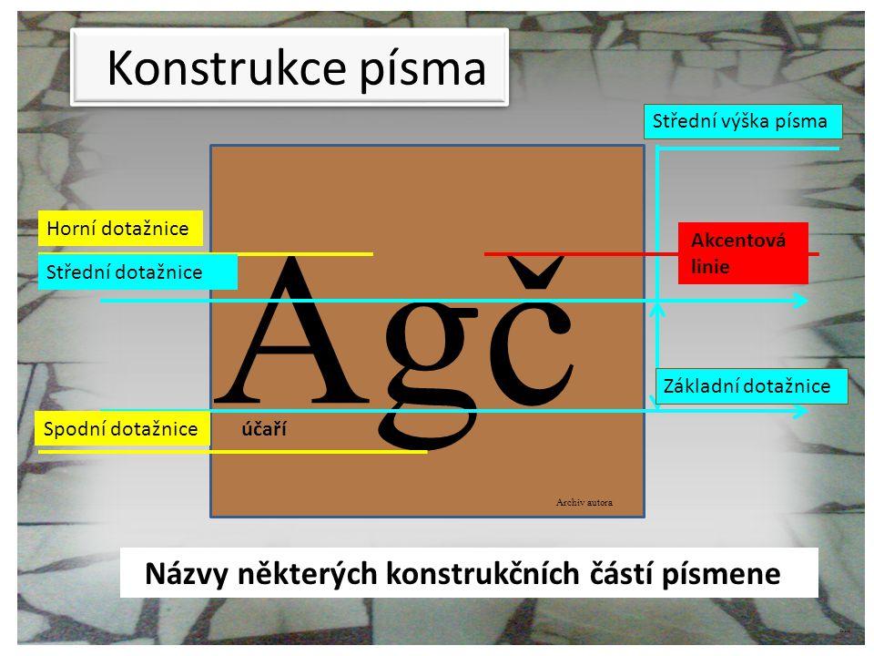 Agč Konstrukce písma Názvy některých konstrukčních částí písmene