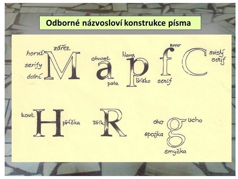Odborné názvosloví konstrukce písma