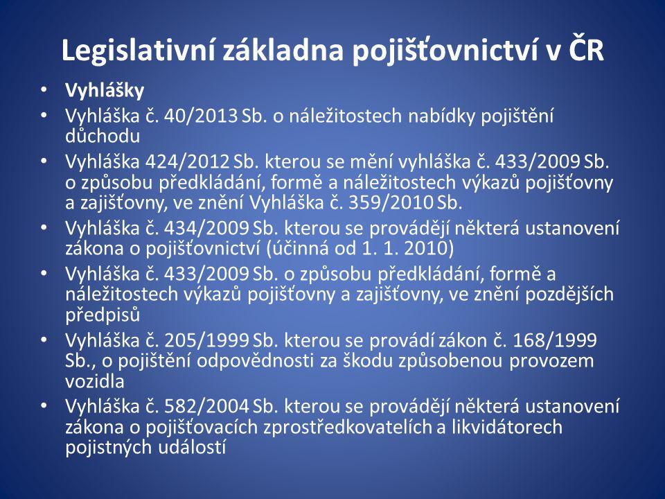 Legislativní základna pojišťovnictví v ČR