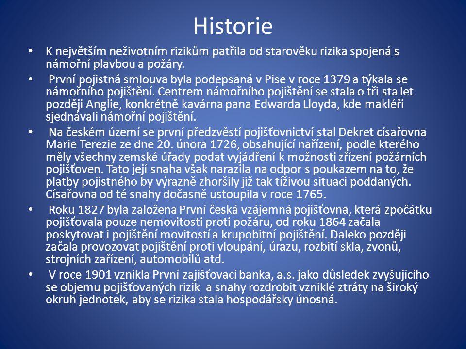 Historie K největším neživotním rizikům patřila od starověku rizika spojená s námořní plavbou a požáry.
