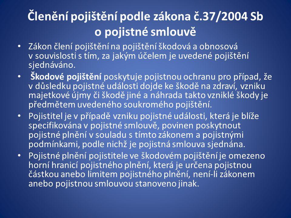 Členění pojištění podle zákona č.37/2004 Sb o pojistné smlouvě