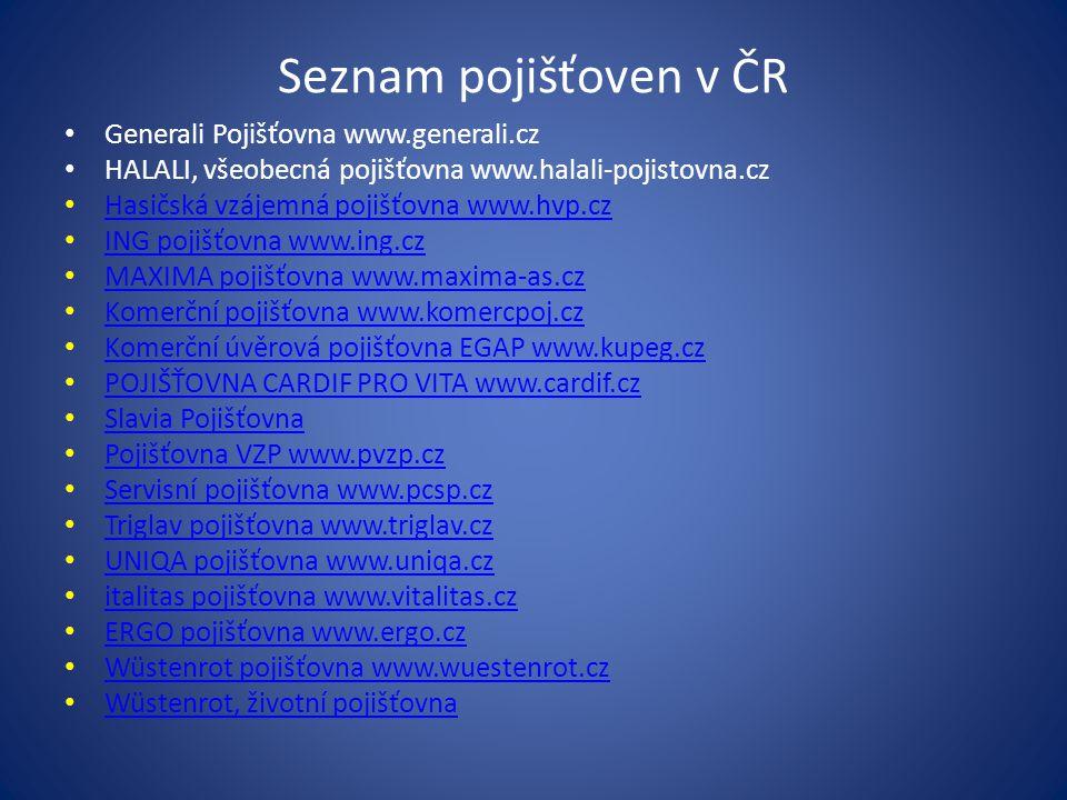 Seznam pojišťoven v ČR Generali Pojišťovna www.generali.cz