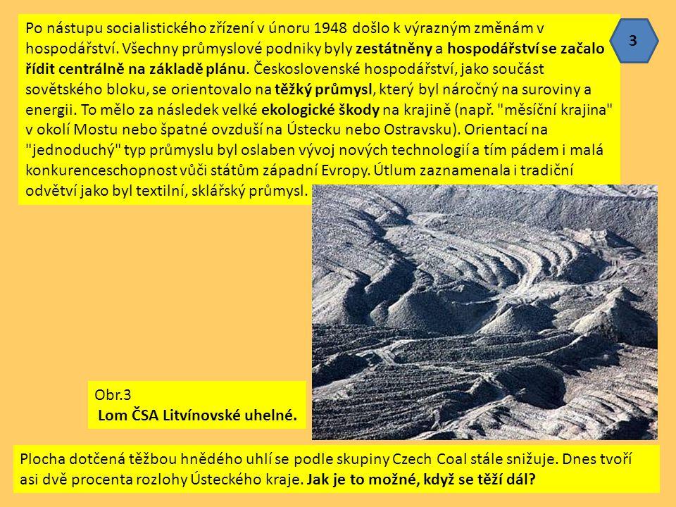 Po nástupu socialistického zřízení v únoru 1948 došlo k výrazným změnám v hospodářství. Všechny průmyslové podniky byly zestátněny a hospodářství se začalo řídit centrálně na základě plánu. Československé hospodářství, jako součást sovětského bloku, se orientovalo na těžký průmysl, který byl náročný na suroviny a energii. To mělo za následek velké ekologické škody na krajině (např. měsíční krajina v okolí Mostu nebo špatné ovzduší na Ústecku nebo Ostravsku). Orientací na jednoduchý typ průmyslu byl oslaben vývoj nových technologií a tím pádem i malá konkurenceschopnost vůči státům západní Evropy. Útlum zaznamenala i tradiční odvětví jako byl textilní, sklářský průmysl.