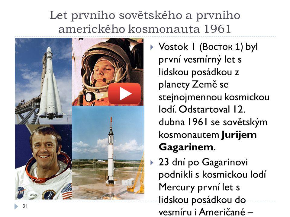 Let prvního sovětského a prvního amerického kosmonauta 1961