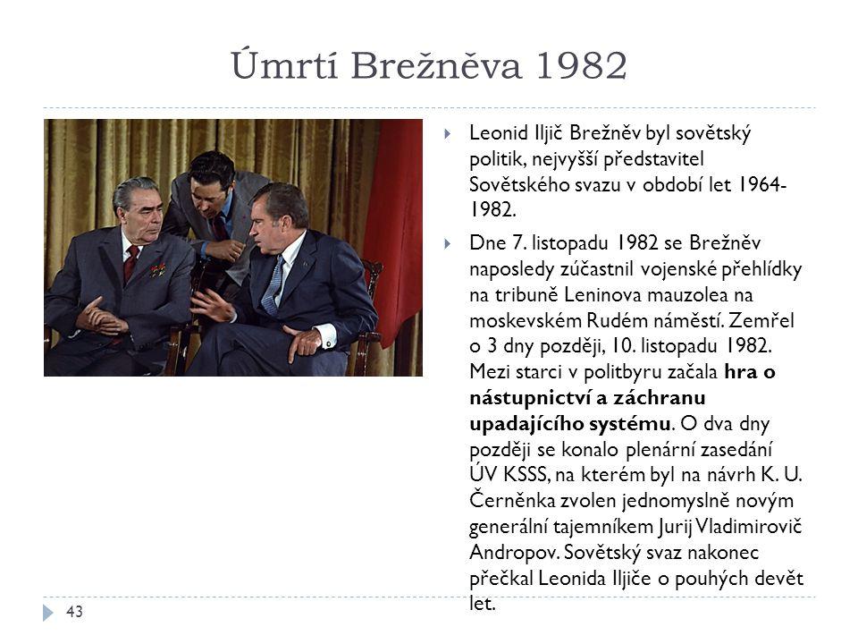 Úmrtí Brežněva 1982 Leonid Iljič Brežněv byl sovětský politik, nejvyšší představitel Sovětského svazu v období let 1964- 1982.