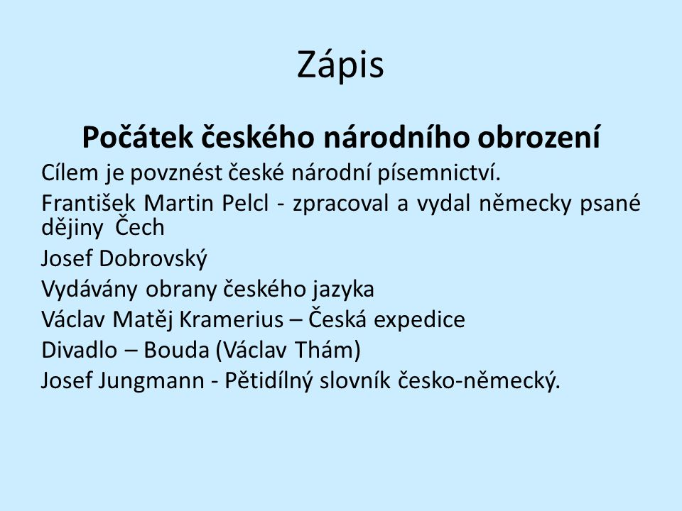 Počátek českého národního obrození
