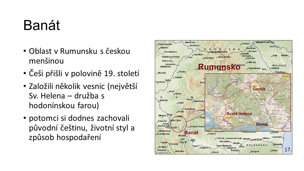 Banát Oblast v Rumunsku s českou menšinou