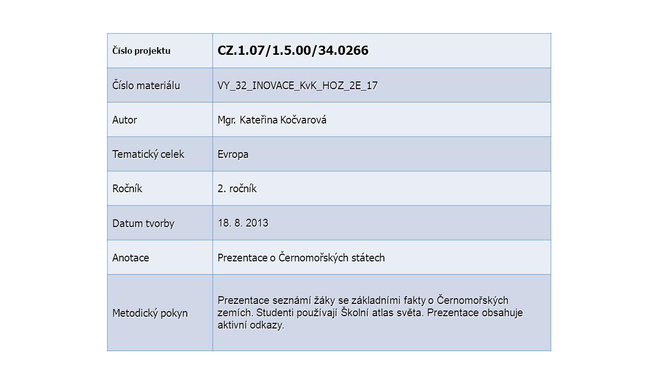 CZ.1.07/1.5.00/34.0266 Číslo materiálu VY_32_INOVACE_KvK_HOZ_2E_17