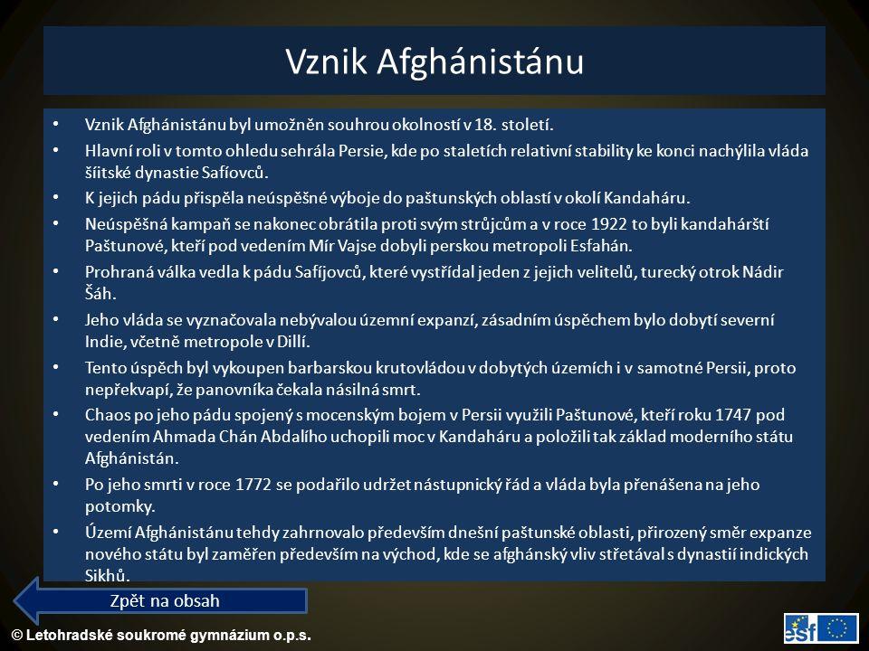 Vznik Afghánistánu Zpět na obsah