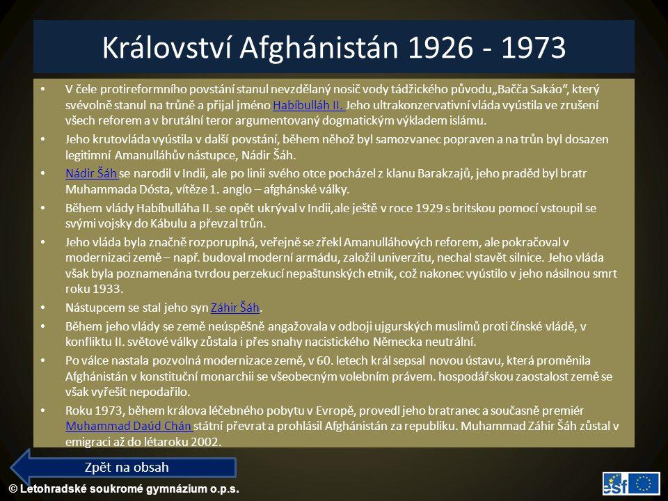 Království Afghánistán 1926 - 1973
