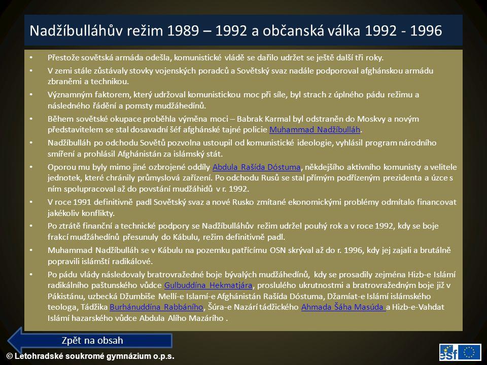 Nadžíbulláhův režim 1989 – 1992 a občanská válka 1992 - 1996