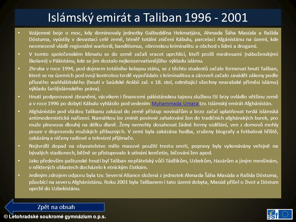 Islámský emirát a Taliban 1996 - 2001