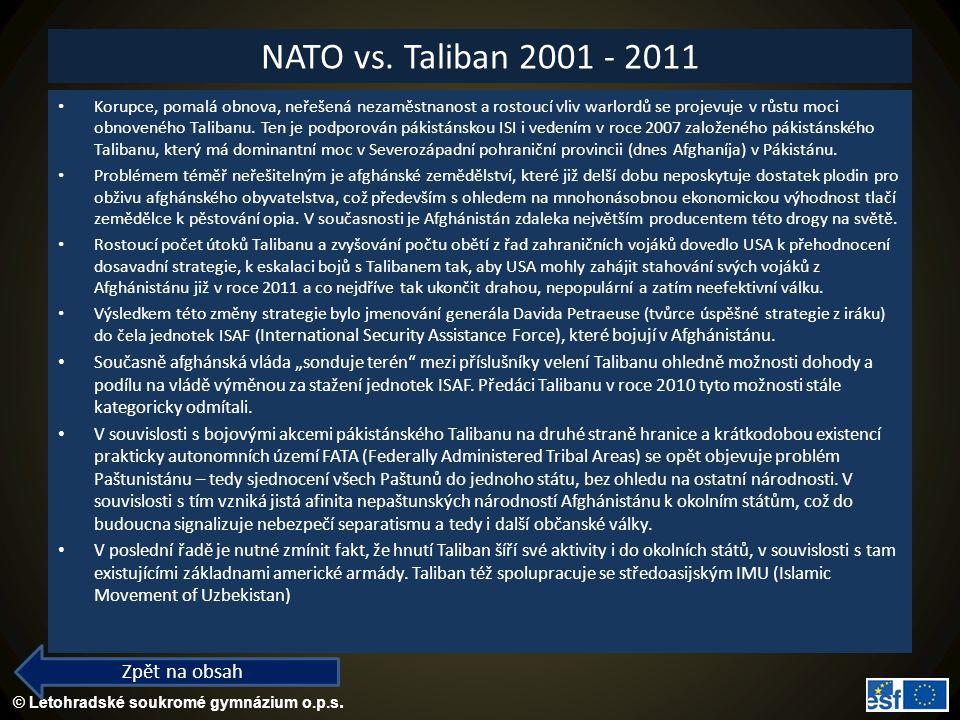 NATO vs. Taliban 2001 - 2011 Zpět na obsah