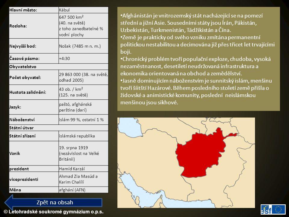 Hlavní město: Kábul. Rozloha: 647 500 km² (40. na světě) z toho zanedbatelné % vodní plochy. Nejvyšší bod: