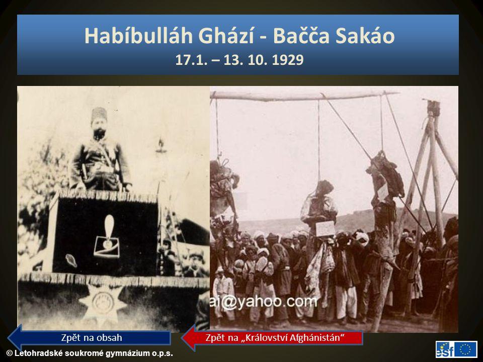 Habíbulláh Ghází - Bačča Sakáo 17.1. – 13. 10. 1929