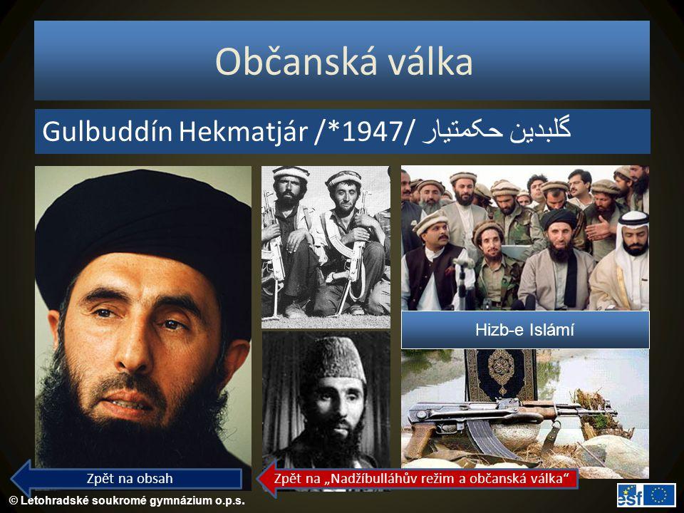 """Zpět na """"Nadžíbulláhův režim a občanská válka"""